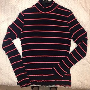 Navy Blue Turtleneck with Pink Stripes, XL